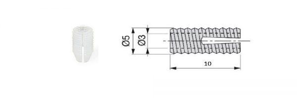 Nylonmuffe für Bohrung ø5 / Menge 1 = 1 VP (100 STK)