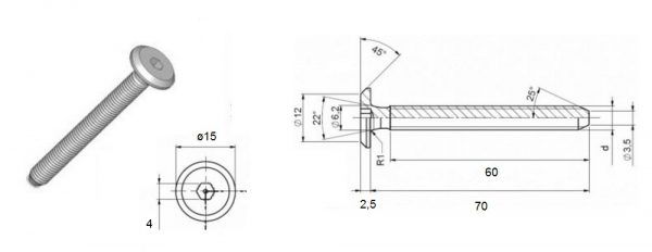 Verbindungsschraube M6 Flachkopf SW 4