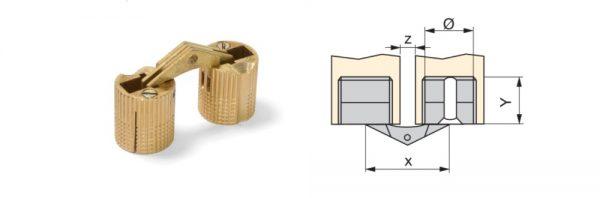Zylinder-Einbohrscharnier aus Messing