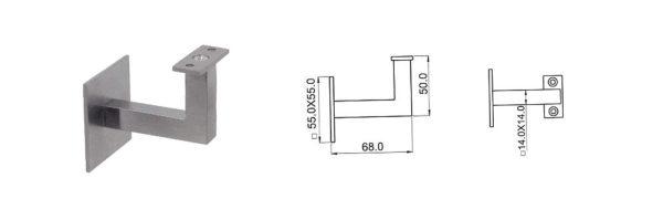 Handlaufstützen kantig 14x14 mm
