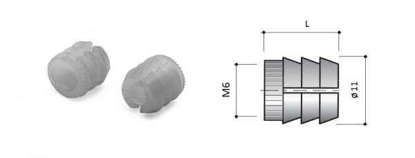 Nylonmuffe M6 für Bohrung ø10