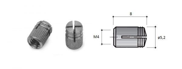 Spreizmuffe M4 für Bohrung ø5