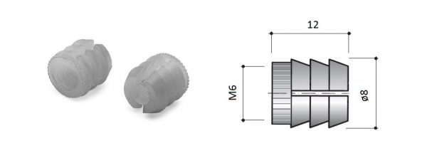Nylonmuffe M6 für Bohrung ø8