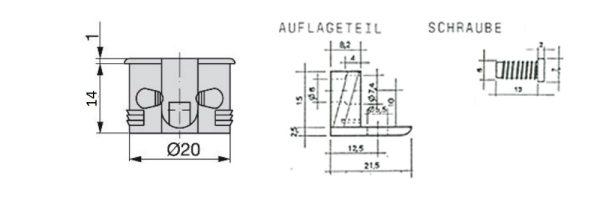 Einbohr- und Auflageteil / Bohrung ø20 / 2-teilig