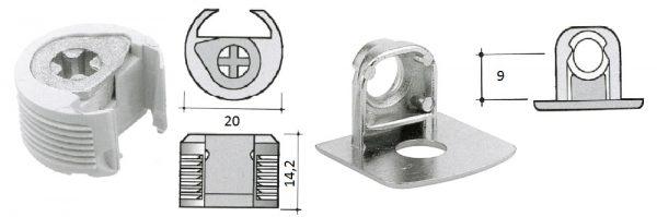 Möbelverbinder ø20 / 2-tlg mit Verriegelung