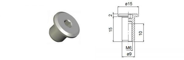 Verbindungshülse M6x15 mm / Flachkopf
