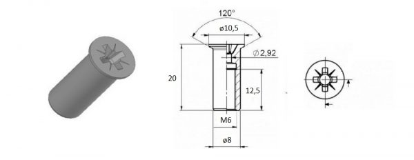 Verbindungshülse M6x20 mm / Senkkopf