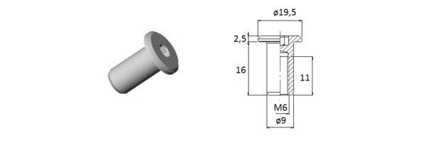 Verbindungshülse M6x16 mm / Flachkopf