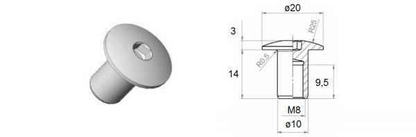 Verbindungshülse M8x14 mm / Flachrundkopf