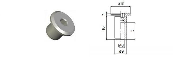 Verbindungshülse M6x10 mm / Flachkopf