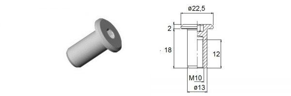 Verbindungshülse M10x18 mm / Flachkopf