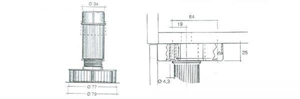 Sockelverstellfuß inkl. Gleiter ohne Seitenauflage