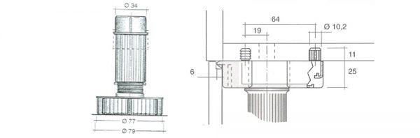 Sockelverstellfuß inkl. Gleiter mit Seitenauflage