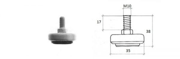 Hochstellschraube ø35 M10