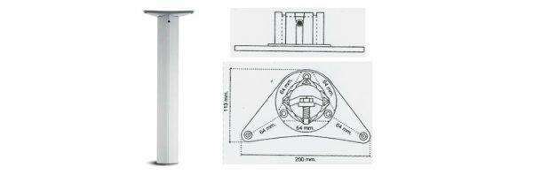 Tischfuß Formrohr 60x60 mm / Stahl chrom