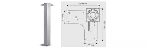 Tischfuß Formrohr 60x60 mm / Stahl vernickelt satiniert
