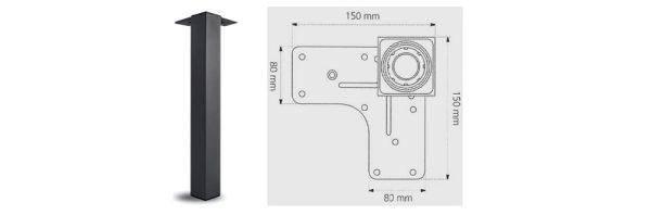Tischfuß Formrohr 60x60 mm / Stahl schwarz RAL9005 matt