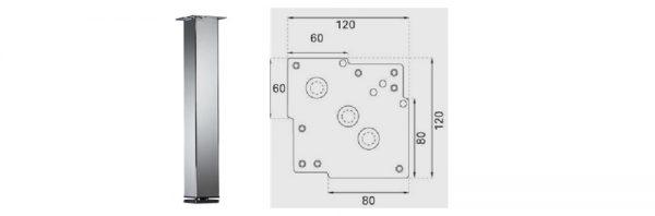 Tischfuß Formrohr 80x80 mm / Stahl