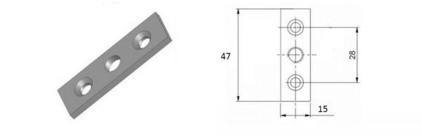 Kastenschraubenplatte mit 3 Bohrungen