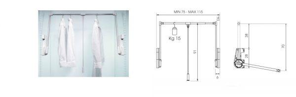 Kleiderlift doppelt / Tragkraft bis 15 kg