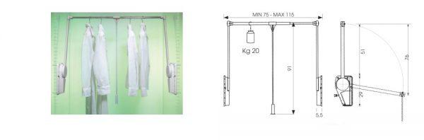 Kleiderlift doppelt / Tragkraft einstellbar
