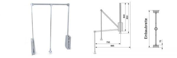 Kleiderlift doppelt / Tragkraft bis 12 kg