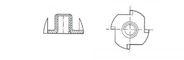 Einschlagmutter mit 4 Einschlagspitzen