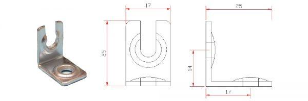 Blenden-Montagewinkel 25x25x17 mm