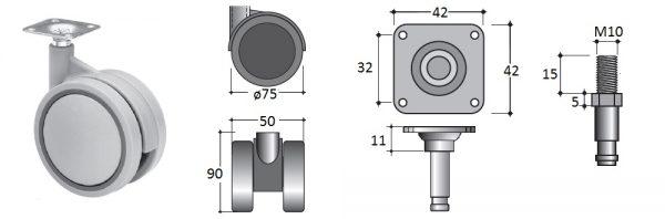 Doppellenk-Rollen-ø75 ohne Bremse