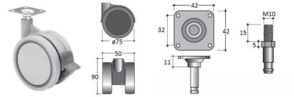 Doppellenk-Rollen-ø75 mit Bremse