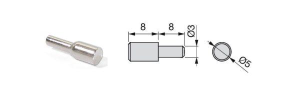 Steck-Fachträger aus Stahl mit Ansatz / ø3