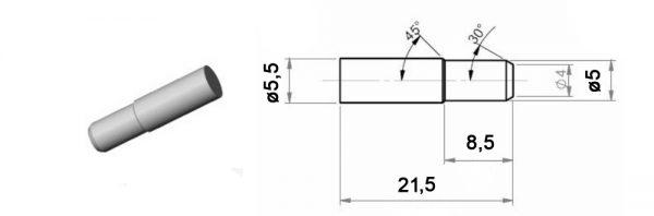 Steck-Fachträger aus Stahl mit Ansatz /ø5