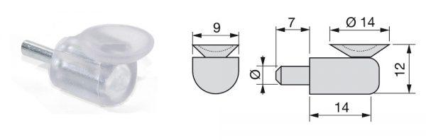 Glasfachträger mit Gummiauflage / ø5