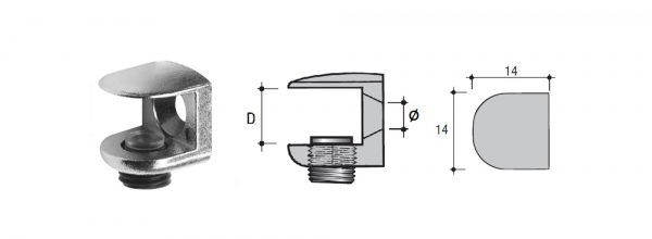 Glas-Klemmfachträger Zamak zum Anschrauben