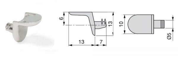 Fachträger aus Zamak / ø5 / Menge 1 = 1 VP (100 STK)