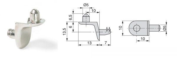 Fachträger aus Zamak mit Zapfen / ø5 / Menge 1 = 1 VP (100 STK)