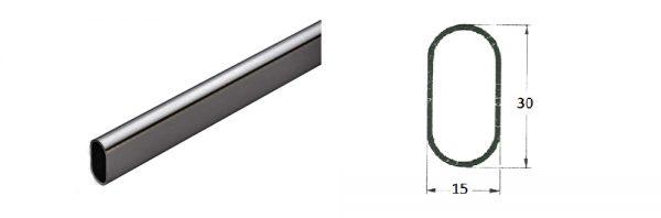 Ovalrohr 30x15 mm / schwarz RAL 9005 matt