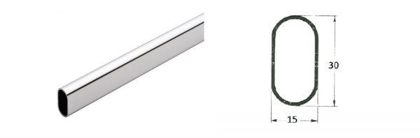 Ovalrohr verchromt 30x15 mm
