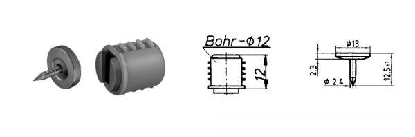 Einbohr-Magnetschnapper ø12