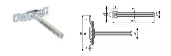Tablarträger Sechskantbolzen SW 11/112 mm