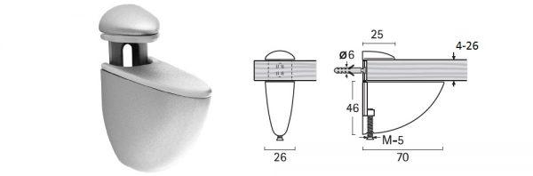 Bordhalter für Verstellbereich 4-26 mm