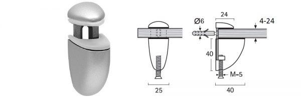 Bordhalter für Verstellbereich 4-24 mm