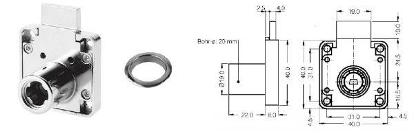 Schubladenschloss Wechselzylinder / MD 25 mm