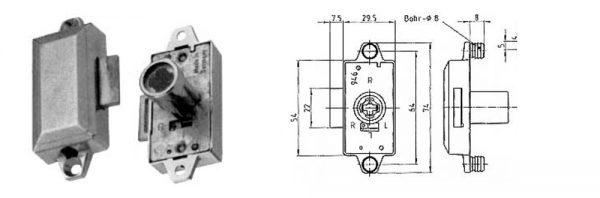 Drehstangenschloss RE-LI / Dornmaß 15 mm