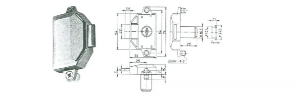 Zylinder-Drehstangenschloss / Dornmaß 25 mm