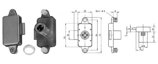Zylinder-Möbelschloss / Dornmaß 15 mm