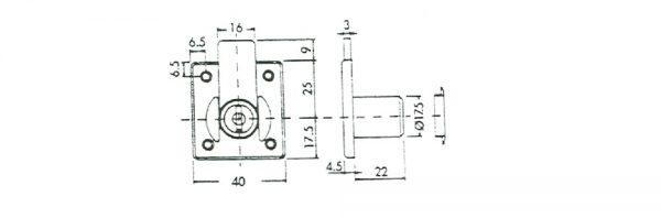 Zylinder-Möbelschloss / Dornmaß 25 mm