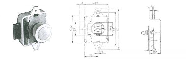 Drehstangenschloss für Druckknopf MD 25mm