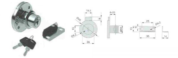 Zylinder-Möbelschloss / Dornmaß 20 mm