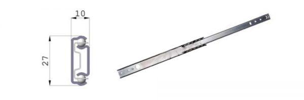 Kugelteilauszug für Nut 27 mm
